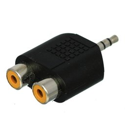 Wholesale F Rca Adapter - 3.5mm Audio Plug Male To 2 RCA Splitter Adapter Female M F 1000PCS LOT