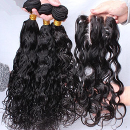 Wholesale Middle Parting Lace Closure Brazillian - Brazillian Water Wave With Lace Closure Free Middle 3 Way Part Closure 4X4'' With Bundles Loose Curls Wet and Wavy Human Hair Weaves