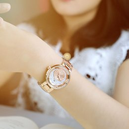 Wholesale Ladies Rose Gold Chronograph Watch - Ladies Fashion Quartz Watch Women Rhinestone Leather Casual Dress Women's Watch Rose Gold Crystal reloje mujer 2016 montre femme