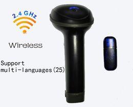 Wholesale Portable Barcode Readers - 25 Language Portable 2.4G Wireless USB Laser Barcode Scanner BarCode Reader for Supermarket Bank Warehouse Logistics