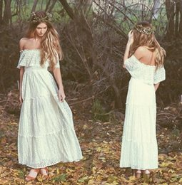 Wholesale Wedding Dresses Embroidered Shoulders - Bohemian 2017 Vintage Wedding Dress Off-the-shoulder Lace Ivory Or White Hippie Wedding Dress Embroidered Maxi Lace Dress Bridal Gowns