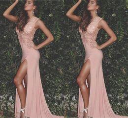 2019 collares formales 2020 árabe atractivo Blush rosa vestidos de baile de la joya collar de apliques de perlas de alta división del tamaño extra largo desfile de moda para fiestas vestidos de noche formal rebajas collares formales