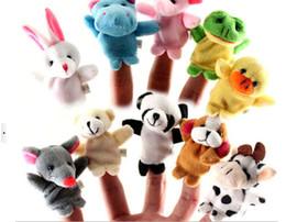 Animali zodiaci online-Finger Puppet giocattoli peluche Baby Zodiac e Famliy Plush Lovely Play Scopri Animal Story Toy Cute Cartoon Finger Doll E1689