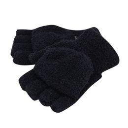 Wholesale Flip Gloves - Wholesale-New Men Women Gloves Winter Warm Half Finger Flip Knitted Mittens Glove Hot Sale 6 Colors Y8 CQ4