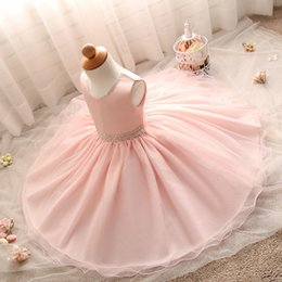 Wholesale Infant Girl Christmas Photos - 2017 Cheap In Stock Pink Infants Little Girls Flower Girl Dresses Birthday Party First Communion Gowns with Beaded Sash MC0684