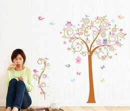 Wholesale Wall Stickers Girl Owl - Free Shipping Large Tree Wall Stickers, Owl Wall Decals Removable Art Murals for Living Room for Kids Girls Bedroom