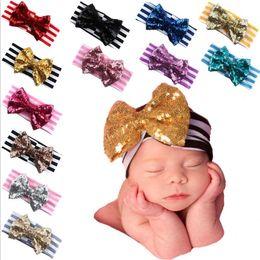 Wholesale Spandex Valentine - 2016 sequined bow baby hairband 14 * 3inch spandex striped Girls Valentine Princess hairflower Children's headband Halloween gifts E202