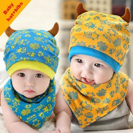 Wholesale Cartoon Cow Hat - Hot Selling Baby Toddler Hats Cotton Soft Cozy Cartoon Printing Cow Caps Fall Winter Warm Hats+Bibs Burp Cloths 6-24M Free Shipping
