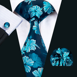 Wholesale Ties Cufflinks Gift Set - Classic Silk Mens Neckties Blue Tie Set Floral Mens Ties Tie Hanky Cufflinks Set Jacquard Woven Meeting Business Wedding Party Gift N-1427