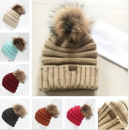 Wholesale Christmas Hat Adult - Fashion 12 Colors Fur Pom Knitted CC Women Beanie Girls Autumn Casual Cap Women's Warm Winter Hats Unisex Men Casual Hat DHL FREE SHIPPING