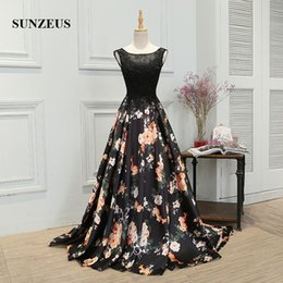 Wholesale Flooring Patterns - Print Patterns Long Formal Evening Dresses Flower Fashion Scoop Appliqued A Line Lace Evening Gowns African Prom Gowns