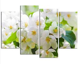 Wholesale Modern Cherry Blossom Decor - 4 Panels Cherry Blossom Painting Canvas Painting Wall Pictures For Living Room Modern Painting Canvas Print Wall Decor