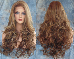 Wholesale Synthetic Wavy Hair - Hot Long Wavy Synthetic Wigs 2016 Fashion Costume Hair Wigs Charming Curly Brown Wigs for Women JF028