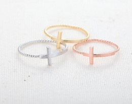 Wholesale Fingers Crossed - Fashion jewelry cross ring finger rings mix color wholesale free shipping