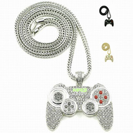 Wholesale Silver Plated Figaro Chains - 2016 Hip Hop Game Machine Handle Pendant Necklace Mens Full Crystal Heavy Necklace Iced Out Game controller Necklace
