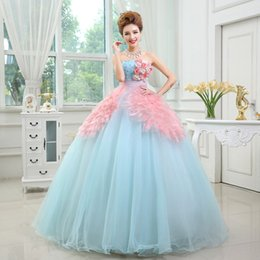 Wholesale Decorating Organza - Decorated Flowers Quinceanera Dresses A Line Gown Lace Strapless Puffy 2016 Formal Party Dress Custom Made