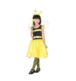 Wholesale Tv Sizes Cm - Cute Bee Girl Costume Halloween Party Cosplay Costumes reduced children day baby fancy children dance costumes for 100 ~ 130 cm