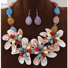Wholesale Stone Shell Necklace - Jewelry Sets For Women African Beads Stone Jewelry Set Party Accessories Shell Flower Necklace Earrings Set Parure Bijoux Femme