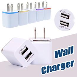 Wholesale Dual Ipad Dock - Metal Dual USB Wall Charger Travel Charger US EU Plug 2.1A AC Power Adapter Plug 2 Port For iPhone X 8 Samsung S8 Plus Smartphone iPad
