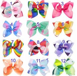 Wholesale Rainbow Wear - 12 Color Rainbow Jojo Bows for Girls Siwa Style Hair bows Christmas Hair Accessories Birthday Bow Cute Hair Wear Clips hairpins