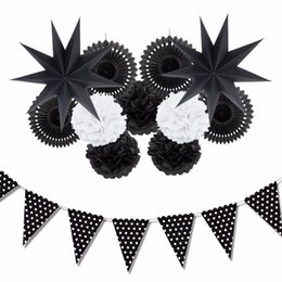 Wholesale Pompom Paper - Sunbeauty 12Pcs  Set Black And White Theme Party Decoration Paper Fan Pompoms Decor Home Party Supplies Hanging Ideas For Party