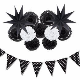 Wholesale Home Ideas - Sunbeauty 12Pcs  Set Black And White Theme Party Decoration Paper Fan Pompoms Decor Home Party Supplies Hanging Ideas For Party