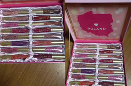 Wholesale Poland Box - In stock Poland Edition Faced Matte Melted Liquid Lipstick Lip Gloss 16pcs Lipstick Set With box Christmas Gifts