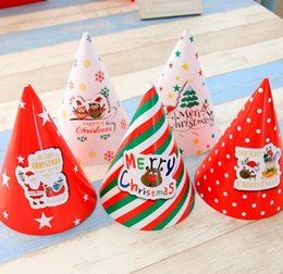 Wholesale Girls Feet Decoration - Kids Christmas Paper Hats Adults Ordinary Decoration Santa Claus Hats Children Cap For Girl Baby Party Ornaments 20x14 QY-050