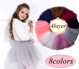 Wholesale Wholesale Mesh Skirts - INS Girls Full mesh puff tutu skirt 4-7years newborn summer elastic band skirt Princess TUTU baby skirt girl clothes 8color choose free ship