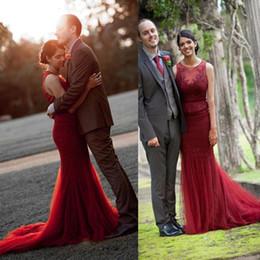 Wholesale Peplum Wedding Dresses - 2016 Burgundy Wedding Dresses Mermaid Sheer Jewel Neck Peplum Illusion Lace Appliques Back Wine Red Bridal Dresses Gowns