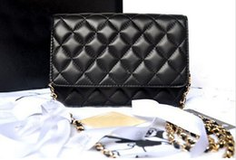 Wholesale Purple Soft Leather Wallet - Luxury Mini Classical Woc Bag Wallet On Chain Women Genuine Lambskin Leather Flap Messenger Bags Designer Handbags 33814 Quilted chain bags