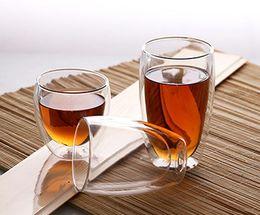 Tazze di caffè libere online-Tazze di forma di uovo Tazze di vetro di vino 9oz 12oz 16oz Bicchiere di doppio strato Tazza di succo di caffè Resistente al calore Egg Drinkware DHL libero
