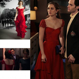 Wholesale Leighton Meester Red Dress - Gossip Girl Leighton Meester Red Colour Evening Dress New Sexy Chiffon Long Formal Party Gown Celeybrity Dress