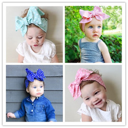 Wholesale Ties Head For Girls - 2016 New DIY Tie Bow Headband Big Bow Cute Dot Print Baby Girls Cotton Headband Head Wrap Children Hair Accessory Suit For 0-6Y