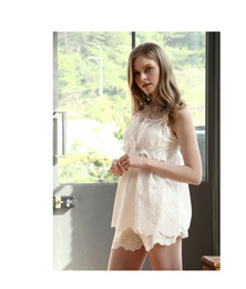Wholesale Lingerie Short Wear Dress - Sexy Elegant Lingerie Sleepwear clothing Janpan Korea Style Womens White Lace Night Wear Dress and Shorts Harness Home Wear