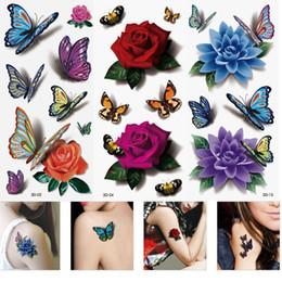Canada 3 Feuilles Femmes Coloré Corps Imperméable À Lèvres Art Manches DIY Autocollants Glitter Tatouages Temporaires Mini Rose Fleur Papillon Offre
