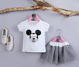 Wholesale Cute Style Babys Girls - Girls Sets Baby Girl Set Child Suit With Minnie Printing +T-shirt +Tutu Skirt Cute Babys Children's Clothes Kids Clothes 2016 New Arrival