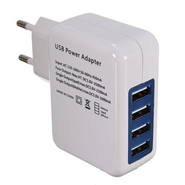 Wholesale Usb Hub Power Charger - Wholesale-New EU 4 USB Port Power Adapter HUB EU Plug Wall Charger For iPhone for iPad for Galaxy Top Sale Product