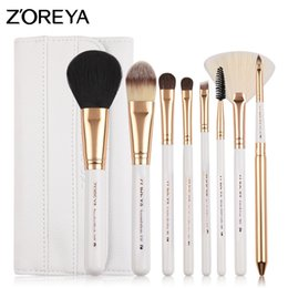 Wholesale Make Up Brushes Zoreya - ZOREYA Brand Colorful 8 pc Pony Hair Make Up Brush Set With Super Soft Leather Bag As Essential Makeup Tools For Daily Beauty