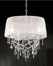 Wholesale Modern Shade Chandelier - Modern K9 Crystal Chandelier Light With Fabric Shade Lampshade LED Chandelier Ceiling light Fashion pendant light #19