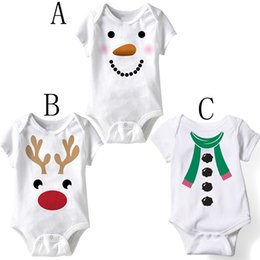 Wholesale White Cotton Square Scarf - XMAS Baby boys girls deer snowman white romper Kids scarf sant romper toddler jumpsuit infant outfit newborn playsuit 3color choose free