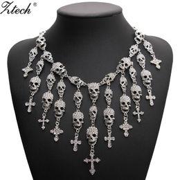 2019 gargantilhas cruzadas Moda de moda lindo colar de esqueleto crânio cruz jóias de cristal departamento declaração mulheres choker colares pingentes gargantilhas cruzadas barato