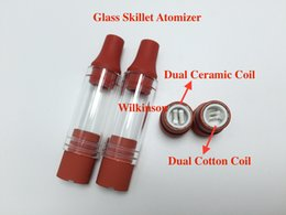 Wholesale Silicon M7 - Dual Wax Coil Glass skillet atomizer double coil skillet atomizer Ego-M7 D Wax atomizer with Red silicon drip tips