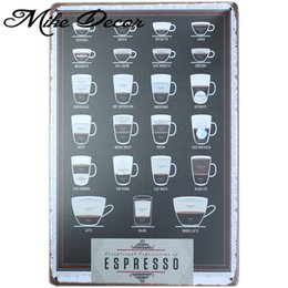 Wholesale Metal Art Items - Wholesale- [ Mike86 ] Espresso Coffee Metal Sign PUB Home bar Decor Vintage Sticker Wall Poster Art 20*30 CM Mix Items AA-439