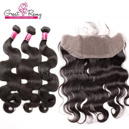 Wholesale Full Hair Weave Styles - 7A Malaysian Lace Frontal Closure 13x4 Free Middle 3 Part Full Lace Frontal with Body wave Style Unprocessed Human Hair Weave Bundles