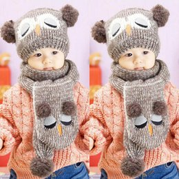 Wholesale Crochet Yarn Scarf - Winter Baby Knit Woolen yarn Crochet Toddler Kids Boy Girls Warm Balls Hat Beanie Knitted Hats and Scarf bonnet d'hiver