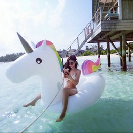 Wholesale Swimming Pools Inflatables - Giant Inflatable Unicorn Pegasus Water Swimming Float Raft Air Mattress For Adult Kid Swim Ring Summer Holiday Inflatable Pool Toy