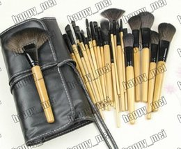 Wholesale ivory makeup - Factory Direct DHL Free Shipping New Makeup Brushes 24 Pieces Brush Sets+Leather Pouch!