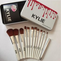 Wholesale Foundation Bb Cream - Hot Sale !!! Kylie Jenner Oval Makeup Brushes Sets Cosmetics Brush Foundation BB Cream Powder Blush 12 Pcs Set Makeup Tools Fast Shipping