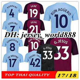 Wholesale Cities Xl - TOP QUALITY 17 18 KUN AGUERO G.JESUS Home blue Soccer Jersey SANE STERLING SILVA KOMPANY DE BRUYNE CITY TOURE YAYA Away football shirt